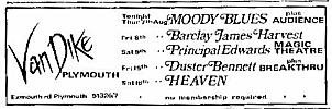 Local newspaper advert for concert in Plymouth on 8th August, 1969