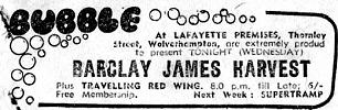 Local newspaper advert for concert in Wolverhampton on 18th November, 1970
