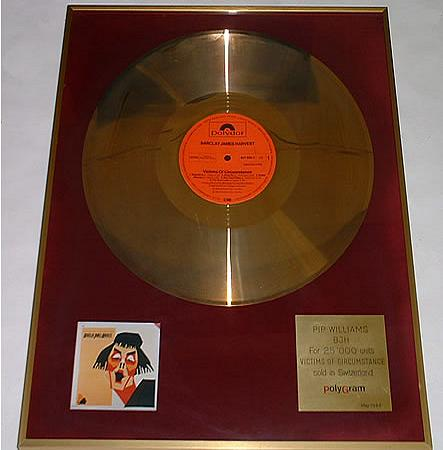 Genuine 'Victims' Swiss gold disc presented to Pip Williams