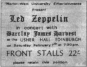 Led Zeppelin supported by BJH, Edinburgh Usher Hall ticket