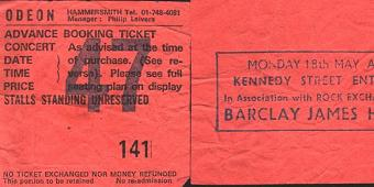 Ticket for Barclay James Harvest Hammersmith Odeon concert, May 1981 [Kim Roberts]
