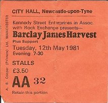 Ticket for Newcastle City Hall concert, May 1981 [Ian Alexander]