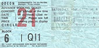 Ticket for Barclay James Harvest Hammersmith Odeon concert, April 1984 [Kim Roberts]